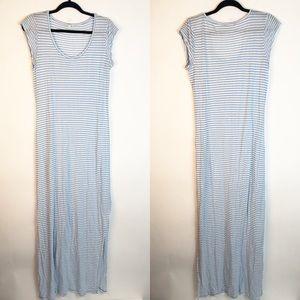 Soft Joie Striped Blue Maxi Dress Front Slit